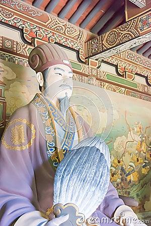 Free SHANXI, CHINA - Sept 17 2015: Zhuge Liang Statue At Guandi Temp Royalty Free Stock Image - 90771356