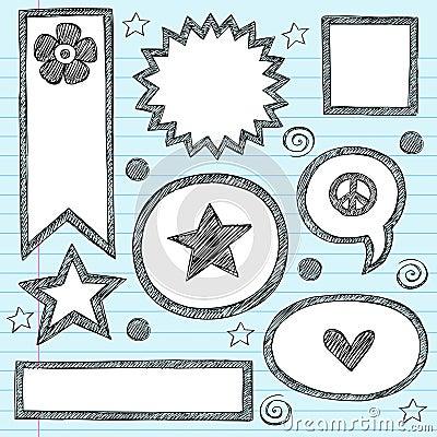 Shape Frames Sketchy Doodle Vector Set