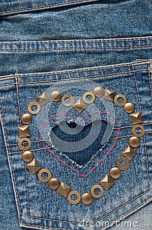 Shape of heart on denim fabric