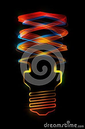 Shaped streaks of light - energy saving lamp