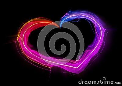 Shaped streaks of light - heart shape
