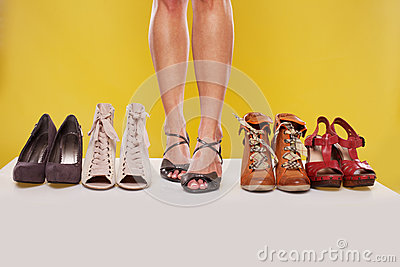 Shapely legs and shoes on display