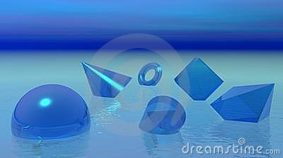 Shapes floating in blue ocean
