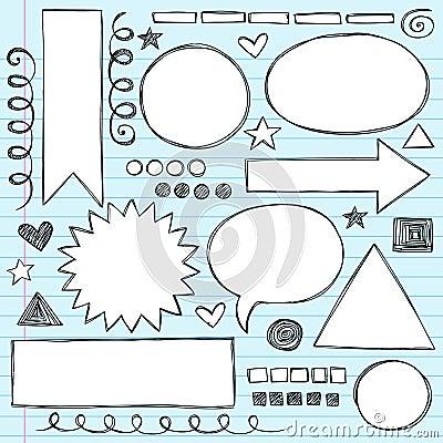 Shapes Frames Sketchy Doodle Vector Set