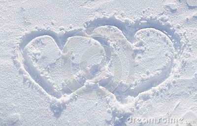 The shapes of heart on the snow.