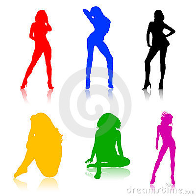 Shapes of hot girls, colored