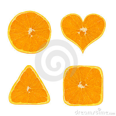 Shapes of orange fruit