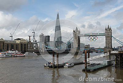 The Shard and Tower Bridge with Olympic rings Editorial Image