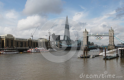 The Shard and Tower Bridge with Olympic rings Editorial Stock Photo