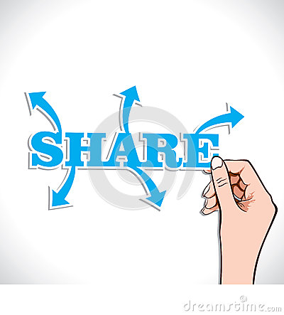 Share word with arrow in hand