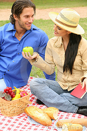 Sharing Fruits In Summer Picnic