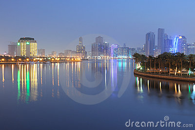 Sharjah City at dusk