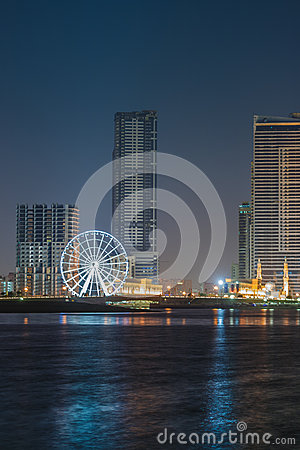 Sharjah city night skyline