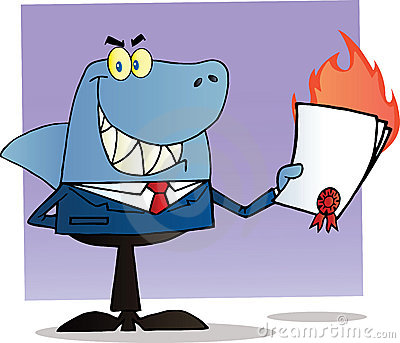 Shark businessman holding a flaming bad contract