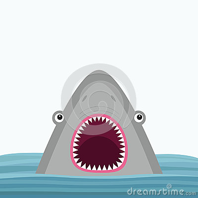 Free Shark Head Face With Big Open Mouth And Sharp Teeth. Cute Cartoon Animal Character. Baby Card. Sea Ocean Wild Animal. Water Wave. Stock Photography - 97208902