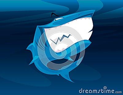 Shark huge smile vector