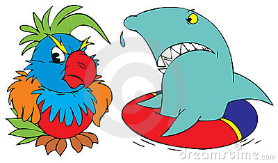 Shark and parrot
