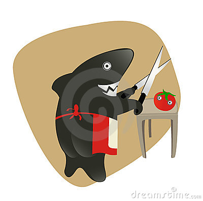 Shark sharpening the knifes for eating a tomato.