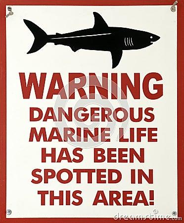 Shark warning sign