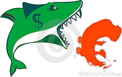 The sharks mouth holds euro sign on isolated vecto