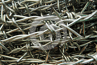 Sharp barbed wire silver background.