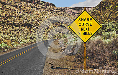 Sharp Curve Next 2 Miles Sign