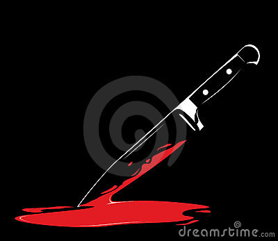 Sharp knife on black background