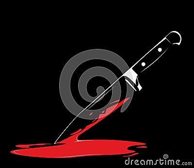 Sharp knife on black background