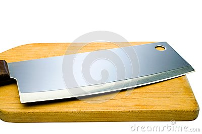 Sharp meat cleaver with cutting board
