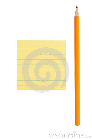 Sharp pencil and post-it note on white background