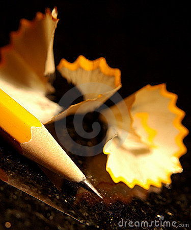 Sharp pencil with shavings