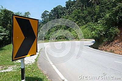 Sharp road curve sign