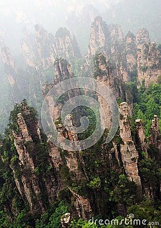 Sharp rocks in zhangjiajie national park