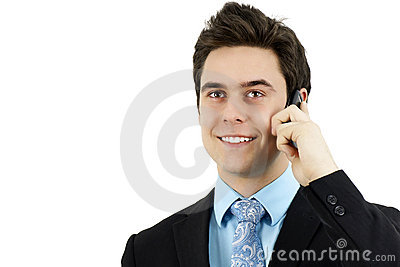 Sharp young man with cell phone