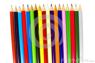 Sharpened tips of bright coloring pencils