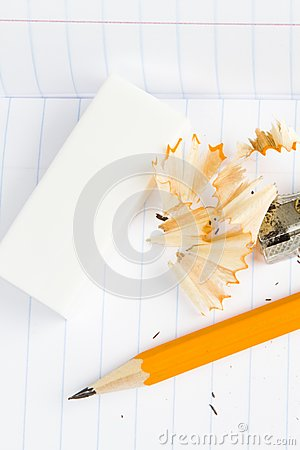Sharpened Wooden Pencil, Sharpener And Eraser Royalty Free Stock Photos - Image: 17829208