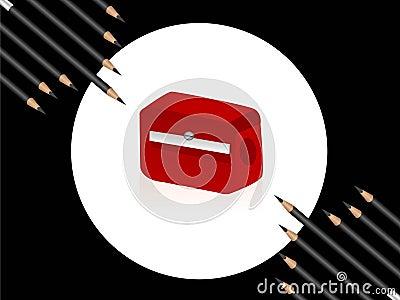 Sharpener and pencils