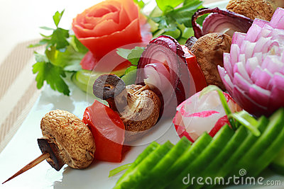 Shashlick from champignon and vegetables