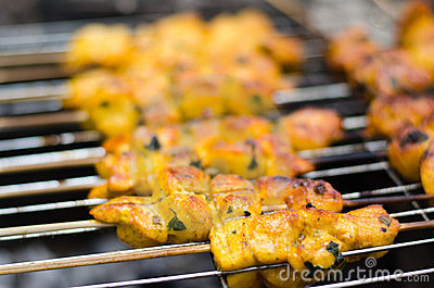 Shashlik cooking on the barbecue grill