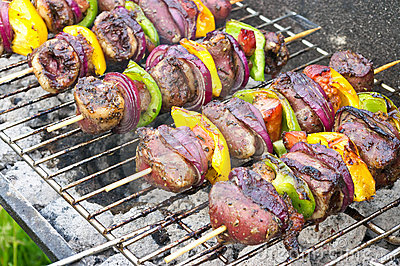 Shashlik with poultry hearts