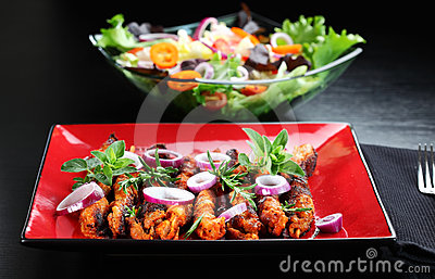 Shashlik with vegetable salad