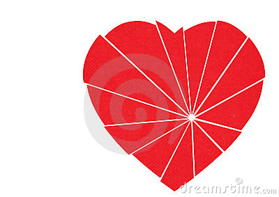 Shattered red heart to mend - isolated on white