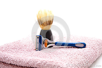 Shaver with shaving brush