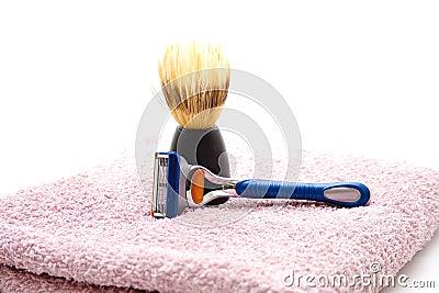 Shaver with shaving brush