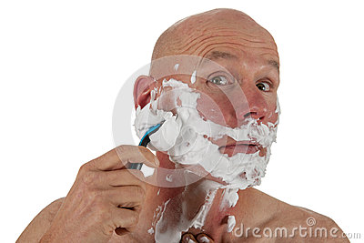 Shaving bald man