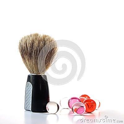 Free Shaving Brush & Bath Pearls Royalty Free Stock Image - 23248486
