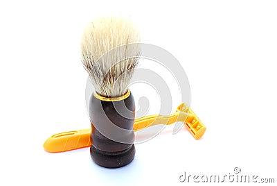 Shaving brush with shaver