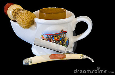 Shaving Mug, Brush and Straight Razor