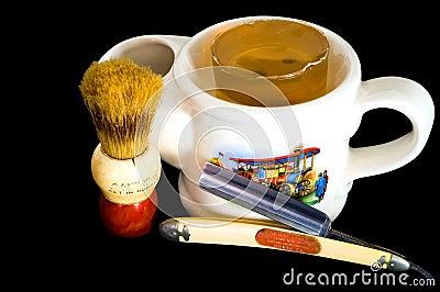 Shaving Mug, Straight Razor and Brush