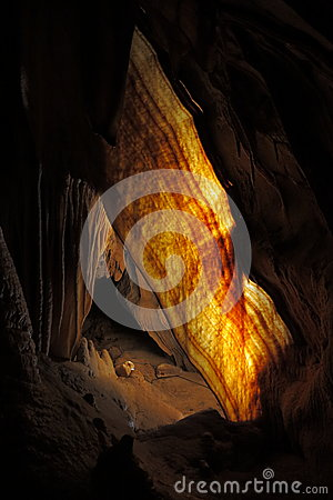 Shawl formation in limestone cave